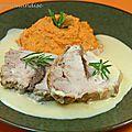 Rôti de porc ( aux anchois) et crème de romarin