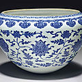 A rare and unusual large blue and white 'alms' bowl, qianlong period (1736-1795)