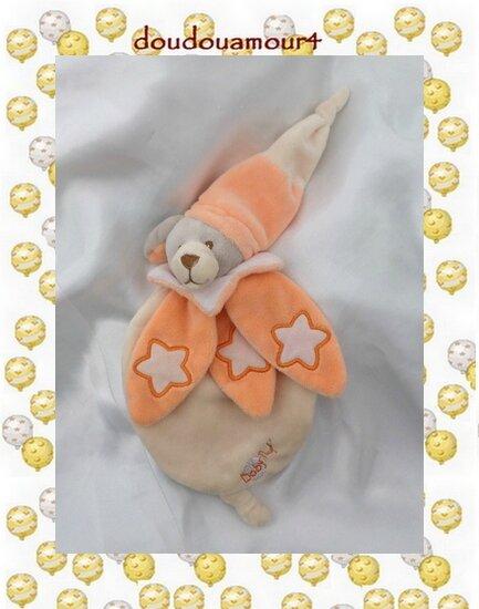 Doudou Peluche Plat Ours Luminescent Orange Beige Col Etoile BabyNat