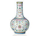 A famille rose 'lotus and bat' vase, china, qing dynasty, jiaqing period (1796-1820)