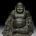 A rare large dated bronze figure of seated budai, ming dynasty, dated by inscription to the third year of the xuande period