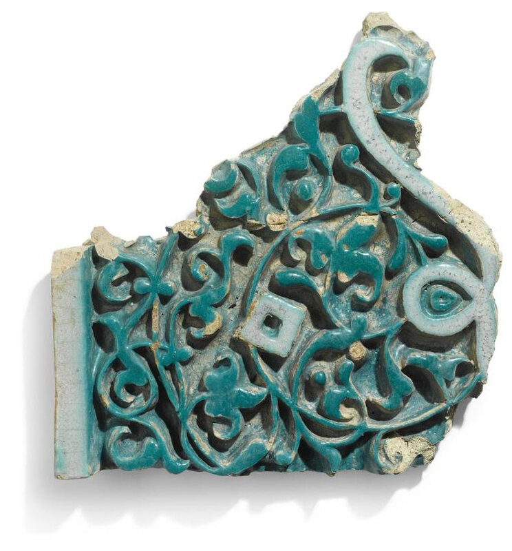 A Timurid carved pottery border tile fragment, Central Asia, Samarqand or Bukhara, late 14th century
