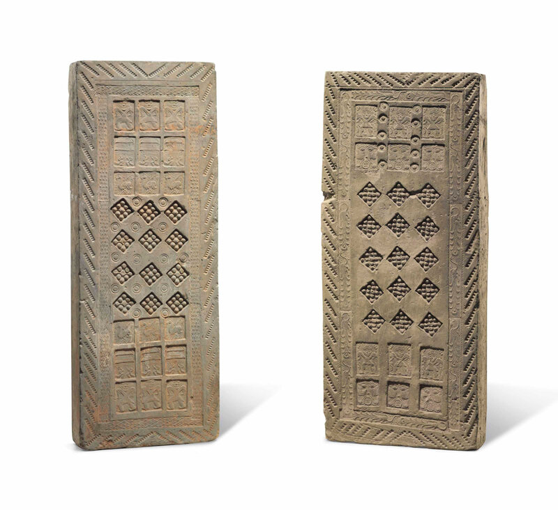 Two grey pottery rectangular tomb bricks, Han dynasty (206 BC-AD 220)