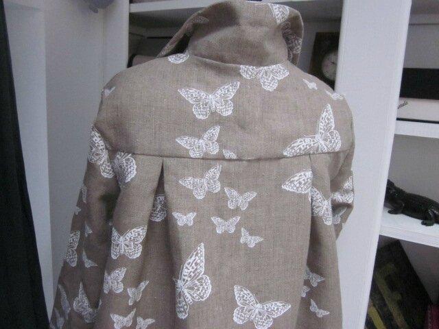 Manteau en lin brut imprimé papillon écru - noeud de lin écru (8)