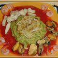 Filet de perche, moules, crevettes et purée de courgettes