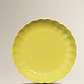 A fine and rare yellow-enamelled chrysanthemum dish, yongzheng six-character mark and of the period (1723-1735)