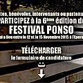 Délai supplémentaire pour envoyer vos candidatures et participer au festival ponso !