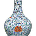 A doucai 'floral scroll' bottle vase, qing dynasty, 18th-19th century