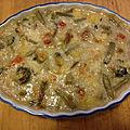 Cassolette gratinée de colin et moules aux légumes divers