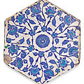 An iznik hexagonal blue and turquoise pottery tile, turkey, first-half 16th century