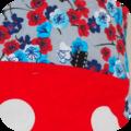 Fleuri pois fond rouge détail