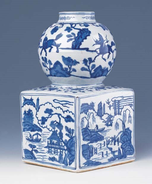 A rare blue and white double-gourd vase, Jiajing six-character mark within a double square and of the period (1522-1566