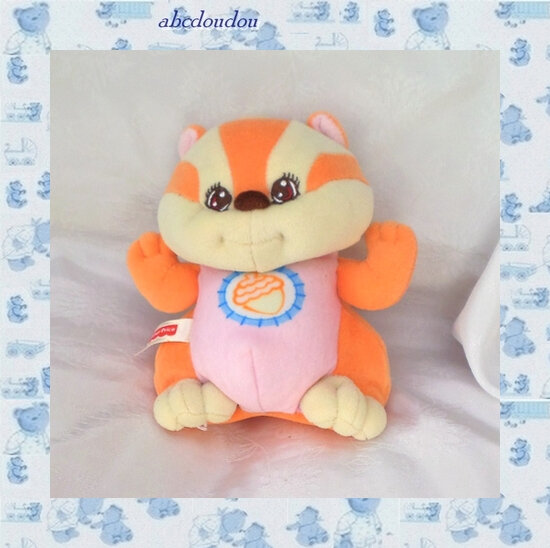 Peluche Doudou Ecureuil Orange Rose Ecru Bruit Hochet Broderie Gland Fisher Price