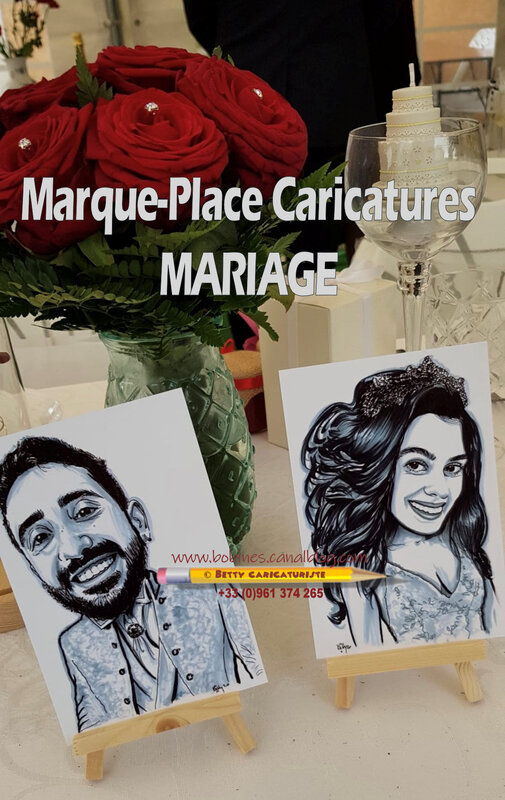 marque place plan table mariage caricatures invites maries