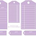 Etiquettes gratuites à télécharger et à imprimer pour le scrapbooking : tags parme