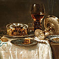 Willem claesz. heda, olives in a blue and white porcelain bowl, a roemer, wine glasses, an overturned silver tazza and a meat-pi
