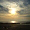 Coucher de soleil sur la plage de Bonville (Normandie)