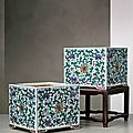 An important and rare pair of doucai square porcelain jardinières on stands, Qing dynasty (1644-1911)