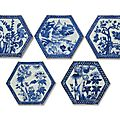 A set of five blue and white tiles, 18th century