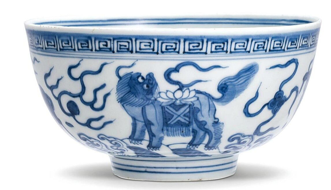 A blue and white 'mythical animals' bowl, Ming dynasty, Wanli period