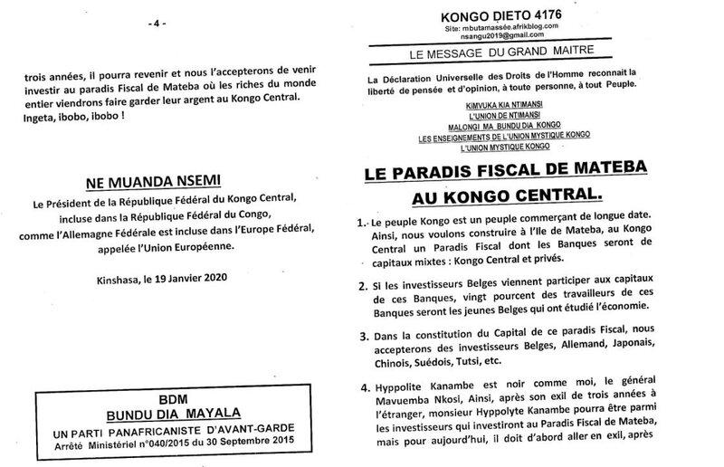 LE PARADIS FISCAL DE MATEBA AU KONGO CENTRAL a