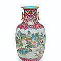 A rare and finely decorated famille rose 'landscape' vase, jiaqing six-character seal mark in iron red and of period
