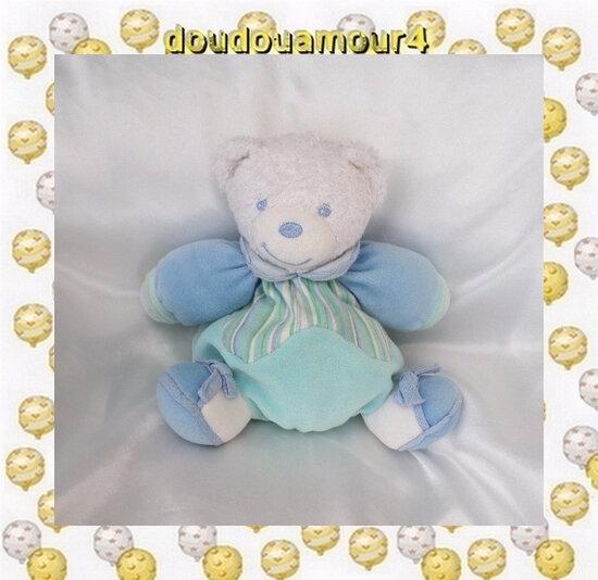 Doudou Peluche Ours Blanc Et Bleu Turquoise Lagon Rayures Kaloo