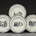 Creil. quatre assiettes creuses de grand format noir et blanc, legros d'anizy,1819