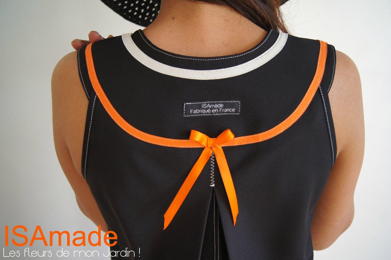Robe trapèze de Style Sixties Géométrique Noire/ Blanche crème et Orange à imprimé Fleurs et Rubans