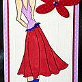 carte porte-billet avec jeune fille et papillon rouge