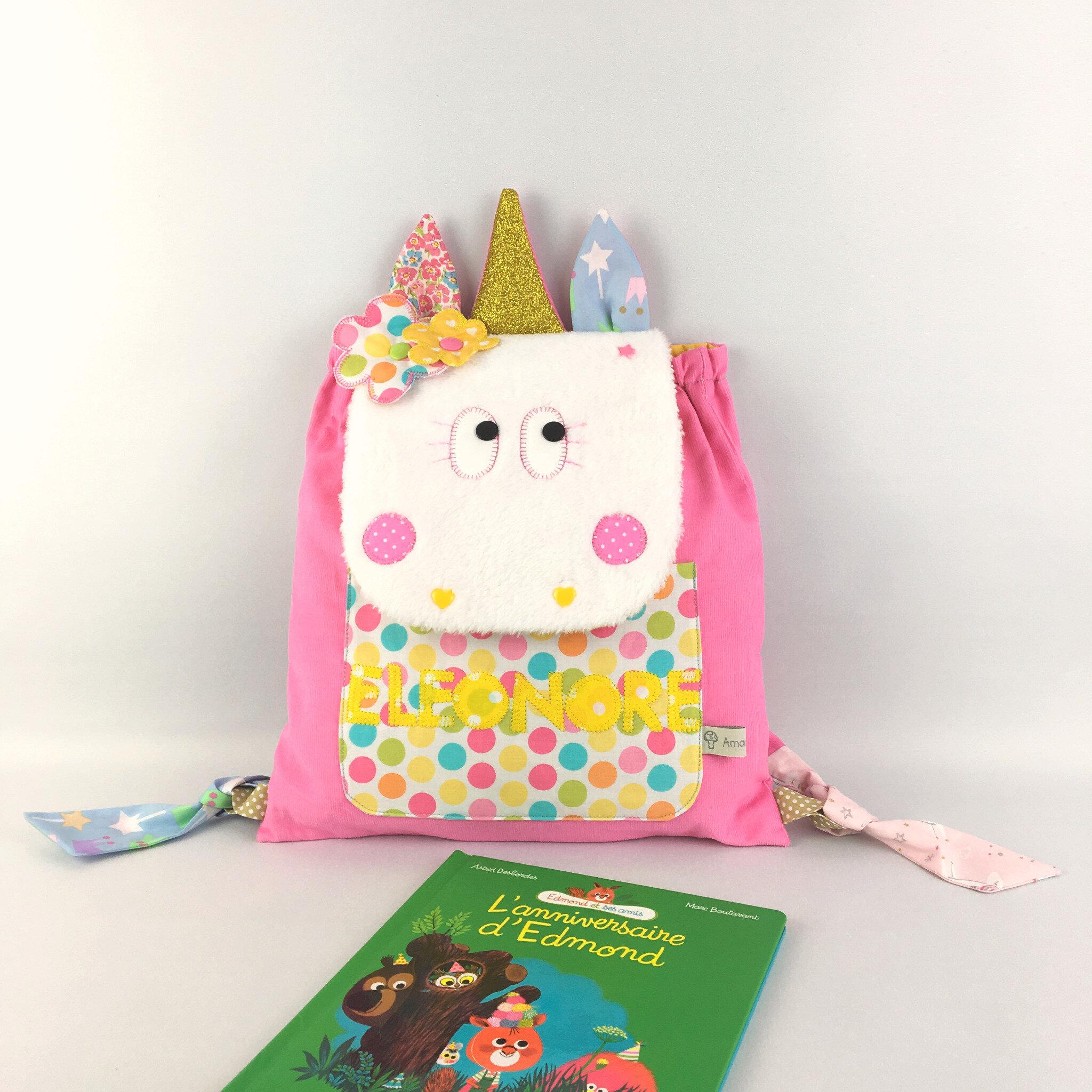 sac à dos licorne personnalisé prénom Eleonore sac fille école maternelle crèche rose jaune doré