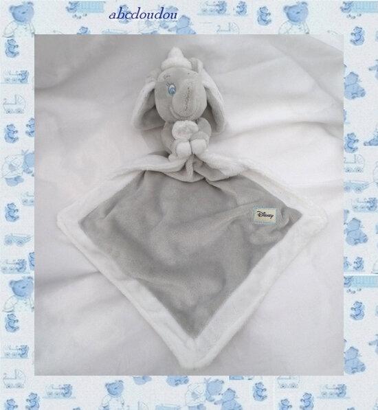 Doudou Peluche Éléphant Dumbo Mouchoir Gris Et Blanc Crème Écru Disney Nicotoy