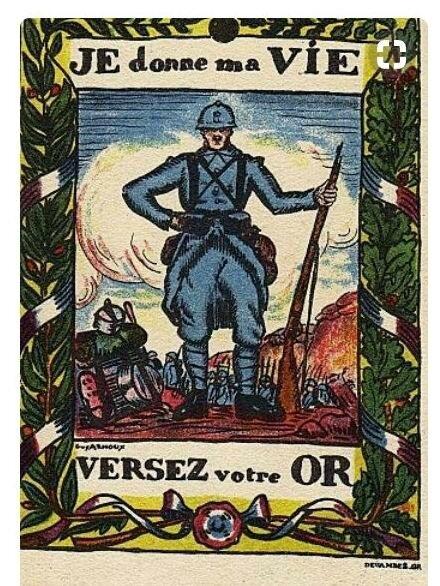 Emprunts français. Pour la France versez votre or. L'or combat pour la victoire.