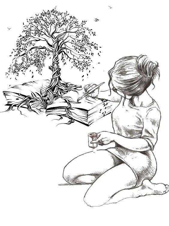 femme peintre arbre et livre