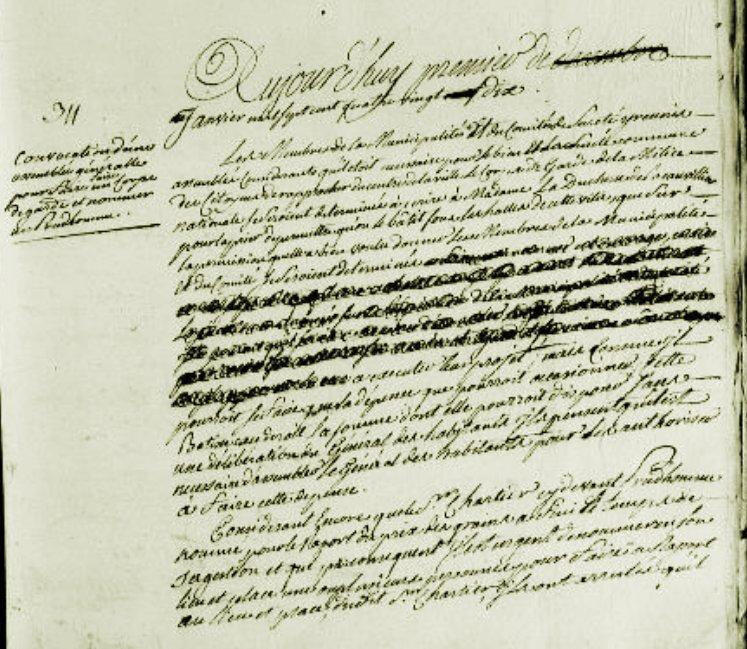 Le 1er janvier 1790 à Mamers : nouveau corps de garde et prudhomme au prix des grains.