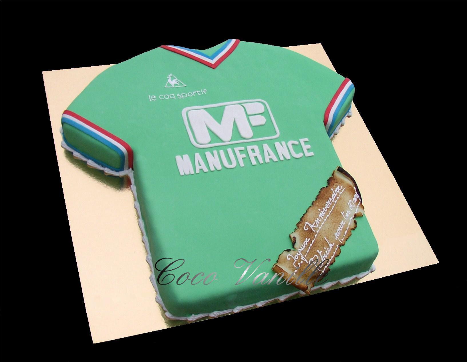 Gâteau Fraisier MAILLOT de FOOT de SAINT ETIENNE