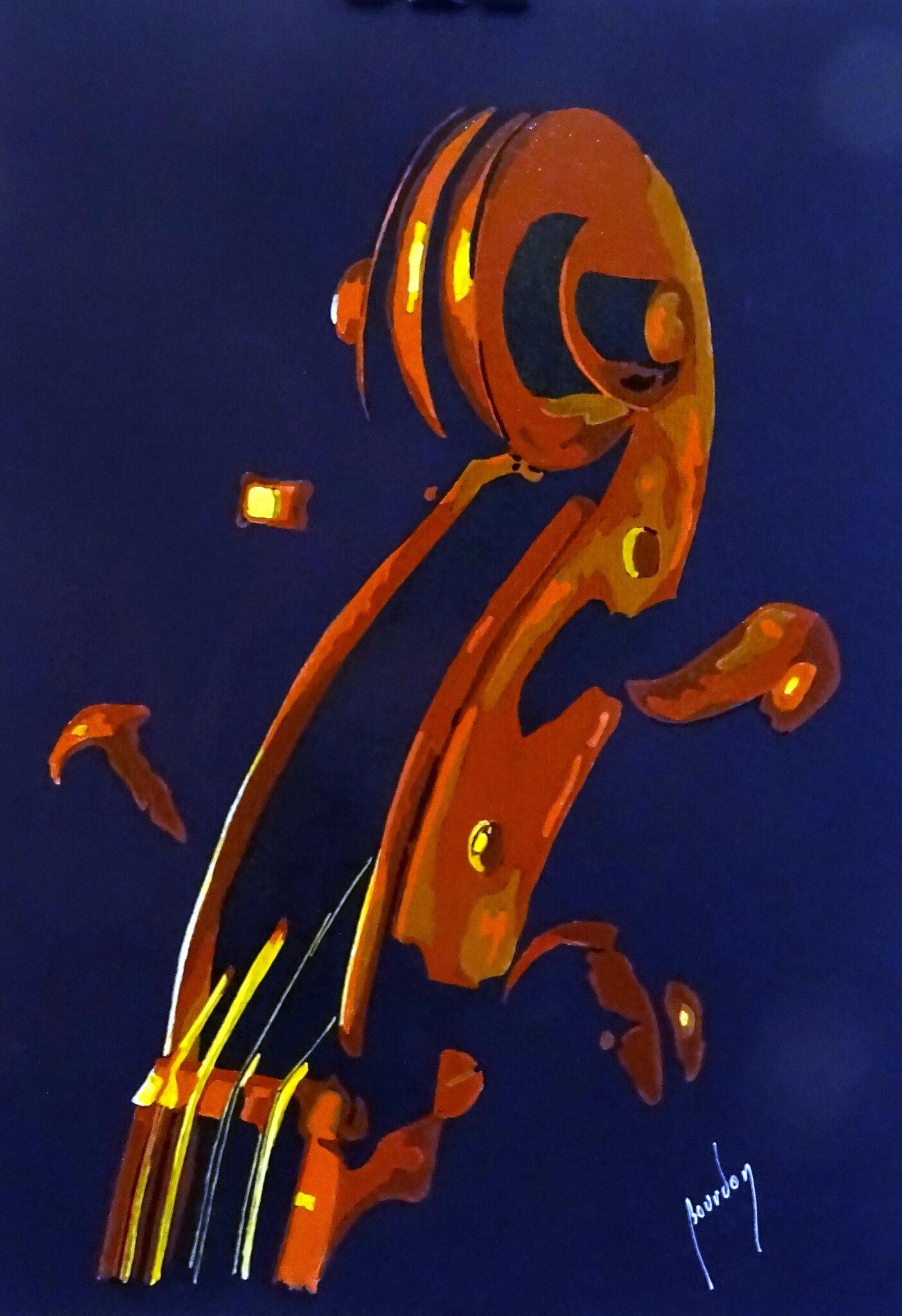Violoncelle, mixte sur papier, 30x40 cm