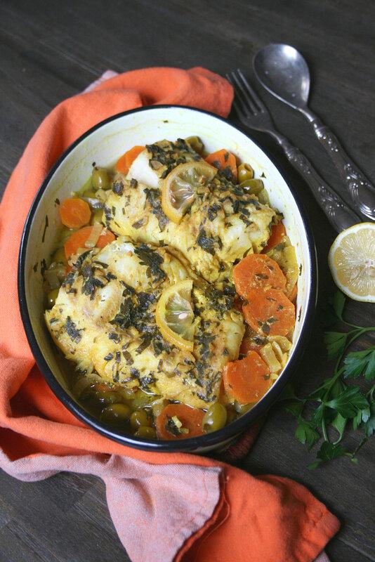Cabillaud à la chermoula carottes et olices - passion culinaire