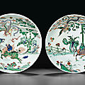 Two large famille verte saucer dishes, kangxi period (1662-1722)