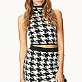 Retro Houndstooth Sweater Skirt