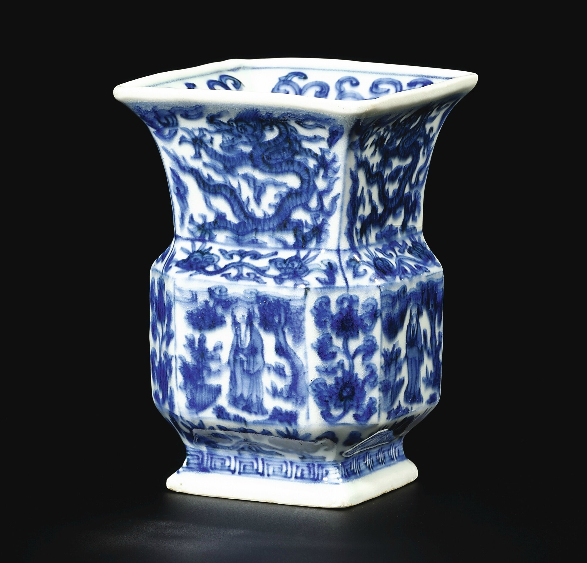 A blue and white square 'dragons and figures' vase, zun, Mark and period of Wanli (1573-1619)