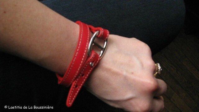 Le bracelet double tour Grain de Café rouge de Laurence