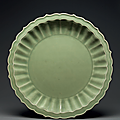 A superb large Longquan celadon bracket-lobed dish, Early Ming dynasty, late 14th-early 15th century