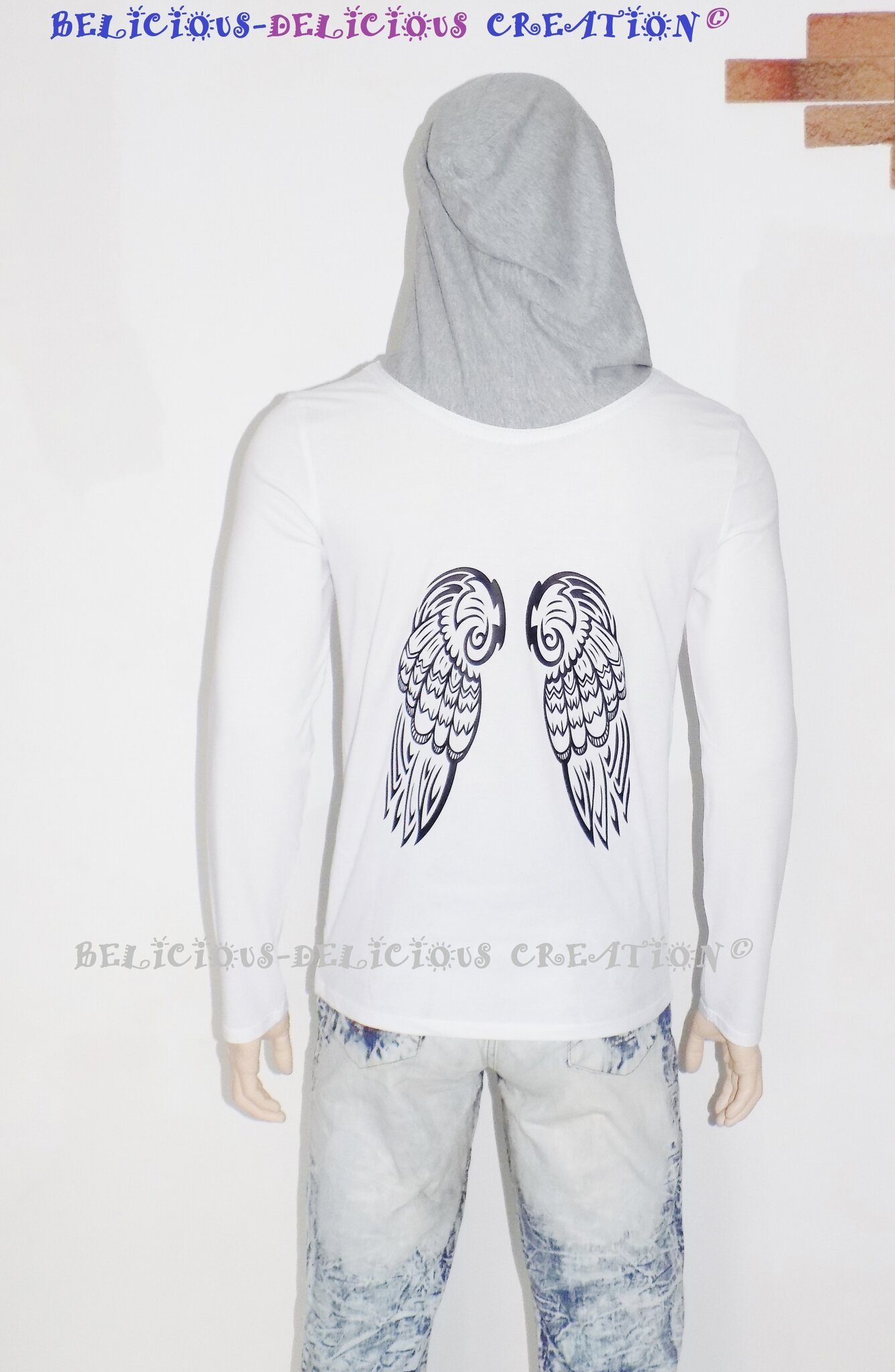 t-shirt hoody mens white gray hood long sleeves eagle wings c