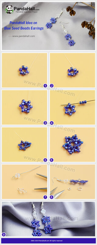 1-PandaHall Idea on Blue Seed Beads Earrings