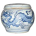 Blue and white 'dragon' jar and cover, Yuan dynasty