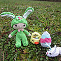 Test crochet - felton in bunny costume...