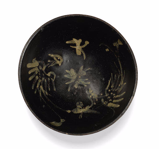 A Jizhou slip-decorated 'phoenix' bowl, 13th century