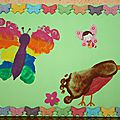 Peinture : papillon et rouge gorge avec les pieds! angèle, mélyna et juliette.