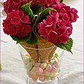 Déco de table cornets et hortensias